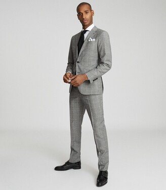 Reiss Hall - Checked Slim Fit Blazer in Grey