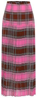 Rixo Tina checked silk midi skirt