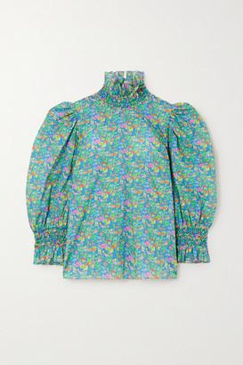 Horror Vacui Collia Floral-print Cotton-poplin Blouse - Green