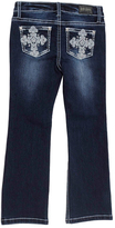 ZCO Dark Blue Ornate Cross Embroidered Bootcut Jeans - Girls