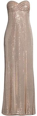 Aidan Mattox Sequin Strapless Slit Gown