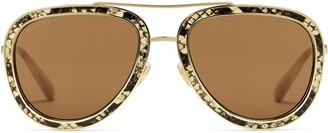 Gucci Aviator sunglasses with leather