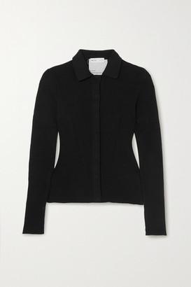 BITE Studios Net Sustain Ribbed Organic Cotton And Silk-blend Cardigan - Black