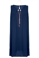 Quiz Navy Chiffon Necklace Tunic Dress