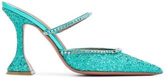 Amina Muaddi 105mm Gilda glitter mules