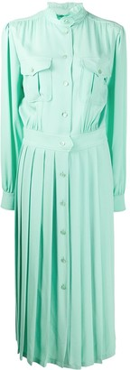 Alberta Ferretti Long Sleeve Pleated Skirt Shirt Dress