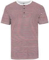 Topman Burgundy Stripe Grandad Collar Muscle Fit T-Shirt