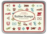 Cavallini & Co. Mini Vintage Letterpress 20-Assorted Wooden Rubber Stamps Packaged in A Tin