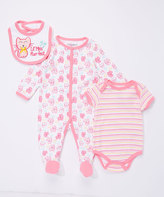 Buster Brown Orchid Pink & Sachet 'Lil' Miss Purr-fect' Three-Piece Footie Set