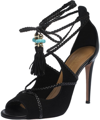 Aquazzura Black Suede And Leather Ankle Wrap Hero Sandals Size 37