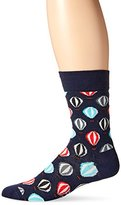 Happy Socks Men's 1 Pack Unisex Combed Cotton Crew-Navy Balloons