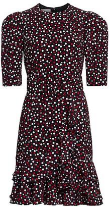 Michael Kors Puff-Sleeve Belted Dress