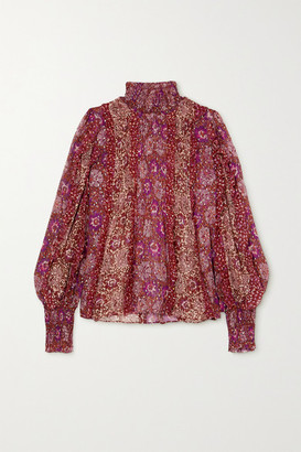 Ulla Johnson Elita Ruffled Floral-print Fil Coupe Silk-blend Blouse - Burgundy