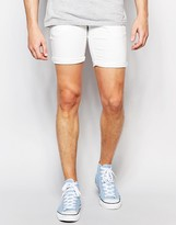 Solid Denim Shorts With Stretch