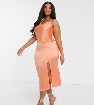 In The Style Plus x Meggan Grubb exclusive satin strappy back midi cami dress in coral
