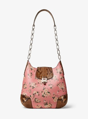 Michael Kors Bancroft Oversized Floral Calf Leather and Python Shoulder Bag