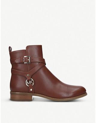 MICHAEL Michael Kors Preston Flat harness leather ankle boots
