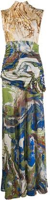 Jil Sander Marble-Print Draped Long Dress