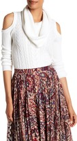 Haute Hippie Cold Shoulder Knit Turtleneck Sweater