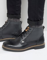 Original Penguin Lace Up Boots In Black Leather
