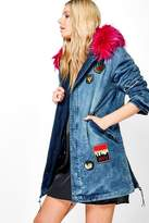Boohoo Karen Faux Fur Hooded Denim Parka