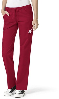 Women's Crimson Washington State Cougars Straight Leg Scrub Cargo Scrub Pants