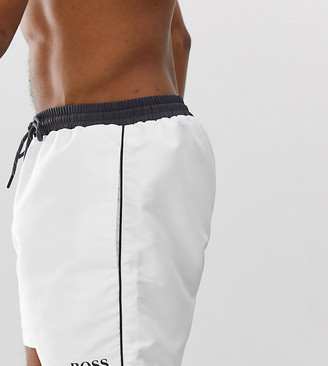BOSS Star Fish swim shorts in white Exclusive at ASOS