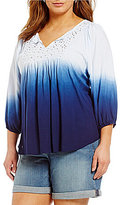 Chelsea & Theodore Plus Embroidered Dip Dye Knit Top