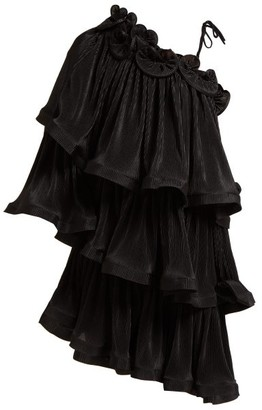 Romance Was Born Bloom Tiered Plisse Mini Dress - Womens - Black