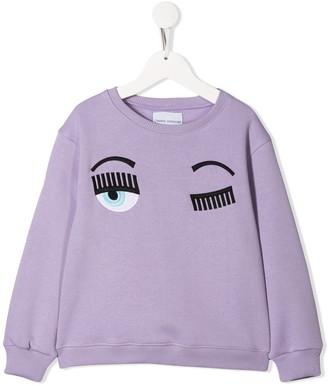 Chiara Ferragni Kids Flirting embroidered sweatshirt