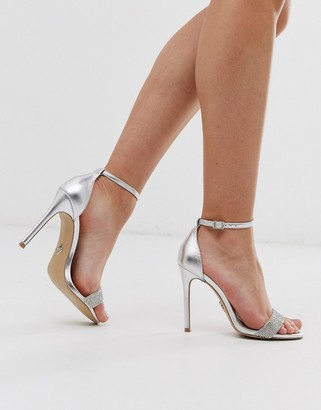 Lipsy rhinestone barely there heeled sandal in silver