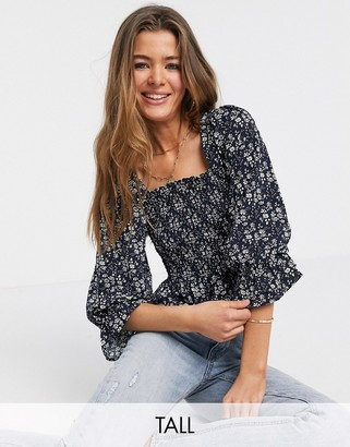 Y.A.S Tall Joanne shirred floral crop top