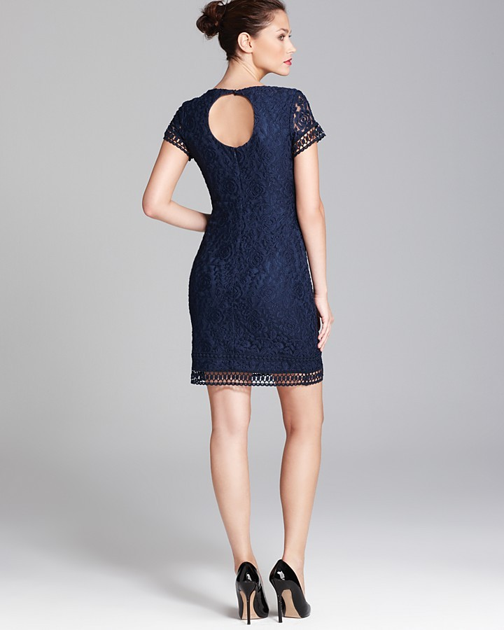 Shelli Segal Laundry by Petites Cutout Back Lace Dress - Cap Sleeve