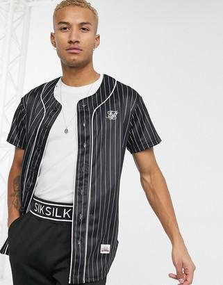 SikSilk striped baseball jersey in black