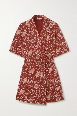 LOVE Stories Susie Quilted Floral-print Crepe Robe - Brick