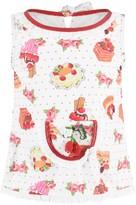 Pate De Sable Baby Girls White Cake & Floral Beach Dress