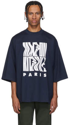 MAISON KITSUNÉ Navy Wavy Logo T-Shirt