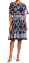 Thumbnail for your product : Sandra Darren Medallion Print Flutter Sleeve Pleated Midi Dress