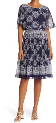 Sandra Darren Medallion Print Flutter Sleeve Pleated Midi Dress