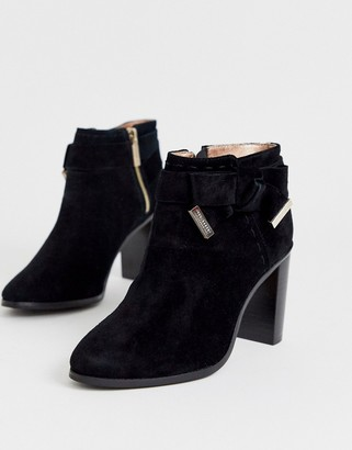 Ted Baker Anaedi suede bow detail heeled ankle boots-Black