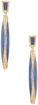 Maiyet 18K Yellow Gold, Blue Sapphire, 0.68 Total Ct. Diamond & Horn Inlay Dagger Long Earrings
