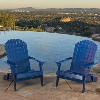 Three Posts Boone Solid Wood Folding Adirondack Chair Frame Color: Blue