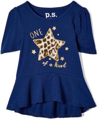 Aeropostale p.s. from Girls' Tee Shirts NAVY - Navy 'One of a Kind' Peplum Top - Girls