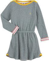 Petit Bateau Girl'S Long-Sleeved Striped Tube Knit Dress