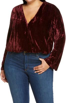 Good American Wrap Front Velvet Bodysuit