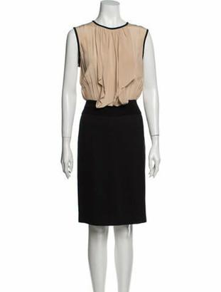 Mantu Colorblock Pattern Knee-Length Dress w/ Tags Black