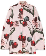 Mother of Pearl Dellar Floral-print Silk-satin Blouse