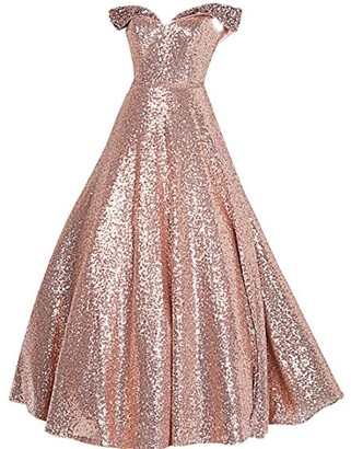 Stillluxury Sequin Prom Dresses Off The Shoulder Crystal Beaded Swing Ball Gown Long Rose Gold Size 12