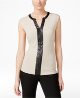 Calvin Klein Contrast-Trim Chain-Neck Top