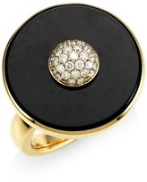 Pyramide 18K Yellow Gold, Diamond & Black Onyx Disc Ring